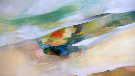 Bild mit Natur, Landschaft, grauer Hintergrund, Abstrakte Malerei, Farbenfrohe Kunst, Farbenspiel, rote, Farbenpracht, braune Farben