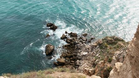 Bild mit Natur, Felsen, Brandung, Tageslicht, Treppen, Meerblick, Schwarzes Meer