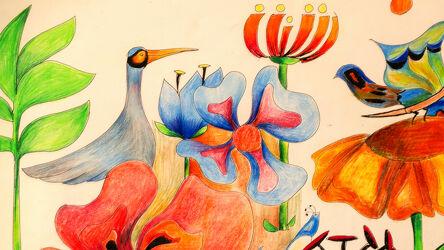 Bild mit Vögel, Illustration, Kinderwelt, abstraktes aus blüten, Farbenfrohe Kunst, grüne Blätter