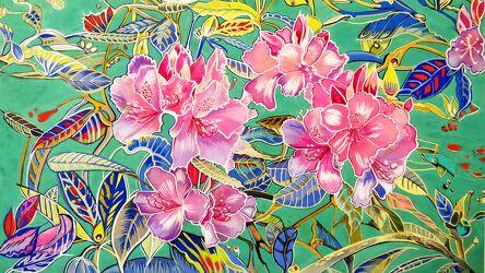 Bild mit Blätter, Handgemalt, Blütenzweige, Details, Rhododendron, rosarot, grüner Hintergrund