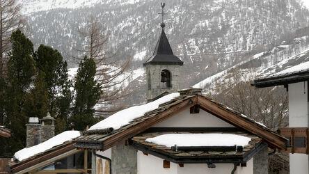 Bild mit Kirche, winterlandschaft, Bergwelten, Alpen im Winter, Kapelle, Schweiz, Saas Fee, Glockenturm
