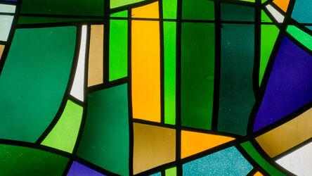 Bild mit Farben, Figuren und Formen, Glas, Fenster, Makro, Farbenspiel, Grüne Farben