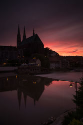 Bild mit Sonnenuntergang,Sonnenaufgang,Stadt,Kirche,Stadt Görlitz,Görlitz,Peterskirche,Görlitz und Umgebung,City,Fluss