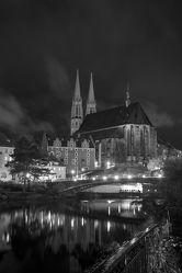 Bild mit Architektur,Kirchen,Stadt,Kirche,Stadt Görlitz,Görlitz,Görlitz Blick,Görlitz und Umgebung,City,schwarz weiß,Goerlitz