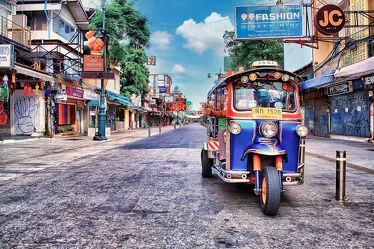 Bild mit Reisen, Reisefotografie, asien, südostasien, Taxis, Thailand, Bangkok, Khaosarn Road, Tuk Tuk