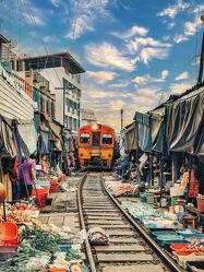 Bild mit Transport, Züge, südostasien, Markt, Märkte, Thailand, Bangkok
