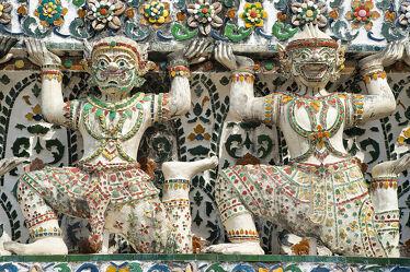 Bild mit Buddha, Buddhas, Tempelanlagen, Religion, Palast, Wächter, Wächter, Bangkok, Wat Arun