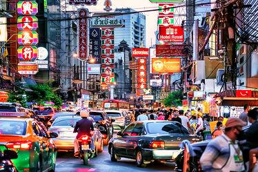 Bild mit Essen, Abendrot, Abendlicht, asien, südostasien, Kultur, Thailand, Bangkok, Chinatown, Garküchen