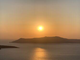 Bild mit Horizont, Sonnenuntergang, Inseln, Meerblick, Meer, Insel, Santorin