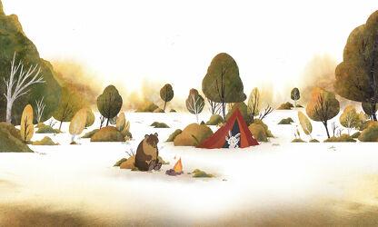 Bild mit Tiere, Herbst, Wald, Märchenwald, Kinderbild, Kinderbilder, Kinderzimmer, Kinderwelt, camping, waldtiere