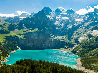 Bild mit Berge, Paradies, Bergsee, See, Berner Oberland, Oeschinensee