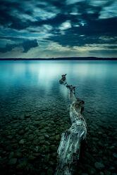 Bild mit Farben, Holz, Sonnenuntergang, Landschaft, Sunset, See, Landschaftsfotografie, Ammersee