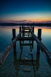 Bild mit Farben, Holz, Sonnenuntergang, Landschaft, Steg, Sunset, See