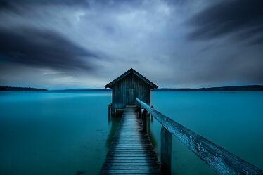 Bild mit Wolken, Landschaft, Steg, See, landscape, Holzhaus, lake, Ammersee