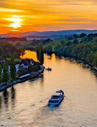 Bild mit Wasser, Sonnenuntergang, Schiffe, Rhein, Luftaufnahme, Drohnen