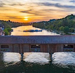 Bild mit Wasser, Sonnenuntergang, Schiffe, Brücken, Rhein, Luftaufnahme, Drohnen