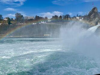 Bild mit Wasser, Regenbögen, Schweiz, Rhein, Rheinfall