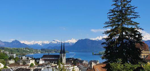 Bild mit Landschaften, Berge, Schnee, Häuser, Sonne, Panorama, See, Schweiz