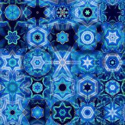 Bild mit Blau, Abstrakt, Ruhe, Entspannung, Muster, Wellness, Formen, Geschenk