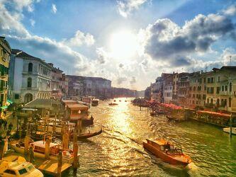 Bild mit Wasser, Sonnenuntergang, Italien, ausblick, venedig
